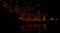 Tons of lanterns across dark sky. video