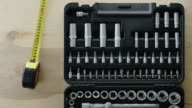 toolbox with varity of box spanner and screwdrivers video