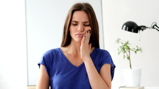 Toothache, Beautiful Woman with Tooth Infection video