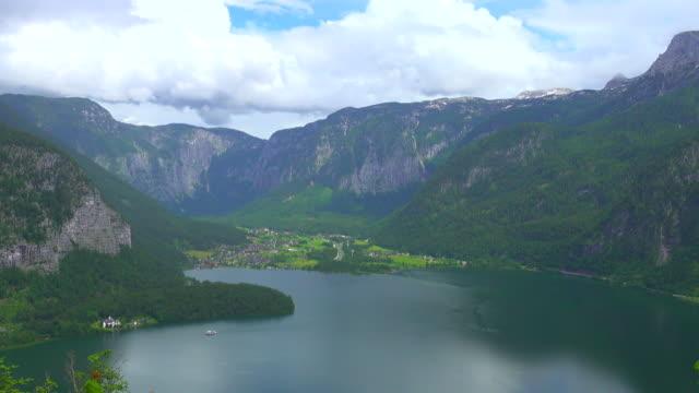 4K : Top aerial view of Hallstatt village and lake, Austria video