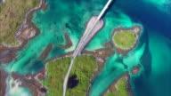 Top down view of bridges on Lofoten video