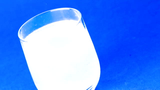 top of view of aspirin or effervescent pill tablet dropped into the water video