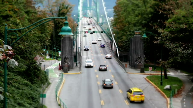 Top shot of Lions Gate Bridge at Stanley Park in Vancouver BC Canada with miniature effect video