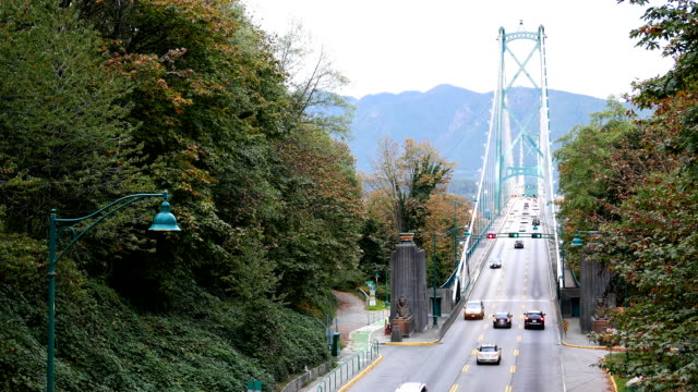 Top shot of Lions Gate Bridge at Stanley Park in Vancouver BC Canada video