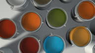 Top View Colorful Paint Cans HD video