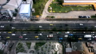 Top view fast moving cars on the road. Timelapse video