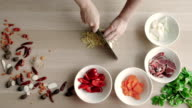Top View of Chefs Hands Chopping Ginger On Wooden Board, Healthy Food Concept video