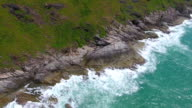 Top View of Rocks and sea waves video