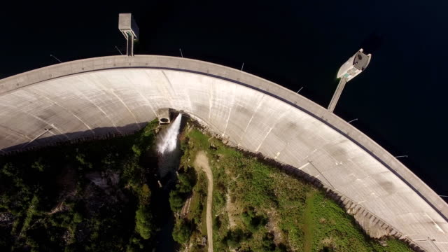 Top view of the dam of Vilarinho da Furna on Rio Homem, Portugal video