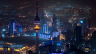 Top view of The Liberation Tower timelapse in Kuwait City illuminated at night. Kuwait, Middle East video