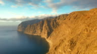 Top view of volcanic mountains in the ocean video