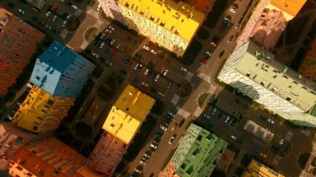 Top view on cozy comfortable colorful buildings in a European city 4K UHD aerial video