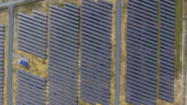 Top view Photovoltaic panels in Solar Power Station with Sunlight video