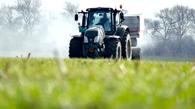 Topdressing of wheat crop with artificial fertilizer video