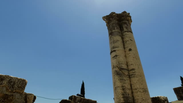 Tops of Pillars in Ancient Temple in Israel video