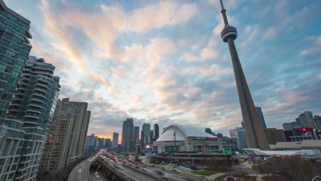 Toronto, Canada, Timelapse  - The Gardiner Expressway & the Rogers Centre at Sunset video