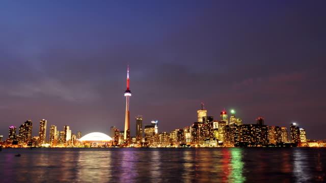 Toronto skyline dusk timelapse video