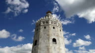 Torre del Oro or Golden Tower (13th century), a medieval Arabic military dodecagonal watchtower in Seville, Andalusia, southern Spain video
