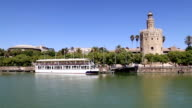 Torre del Oro or Golden Tower (13th century) over Guadalquivir river, Seville, Andalusia, southern Spain video