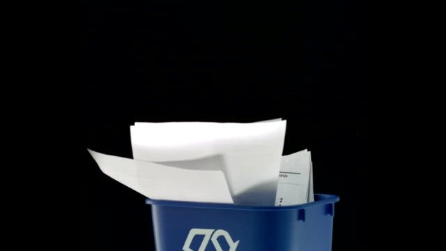 Tossing paper into trash can, Slow Motion video