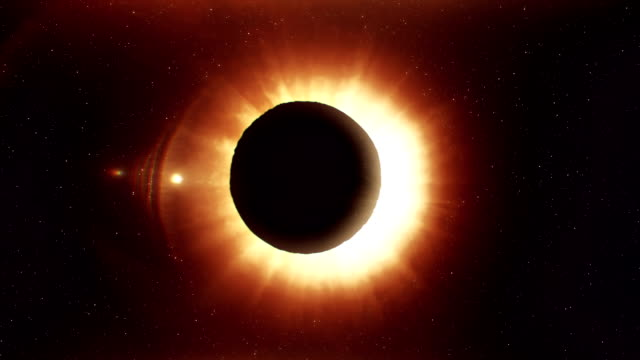 Total solar eclipse animation video