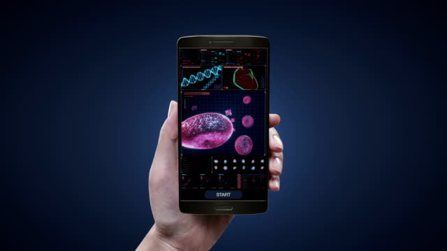 Touching blood health care diagnosis application on mobile screen, Blood cells.Human cardiovascular system, Futuristic medical application. video