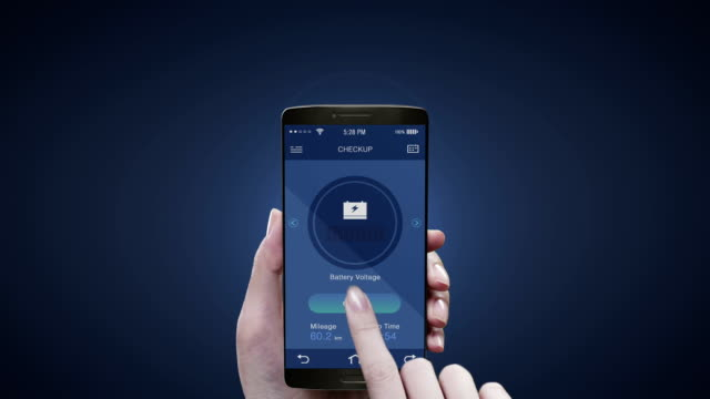 Touching Electronic car management application on mobile screen, Electronic car checked battery , car information. video