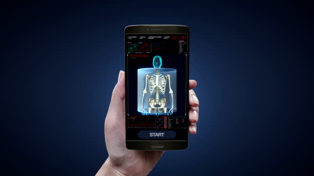 Touching health care diagnosis application on mobile, smart phone, Female body scanning Human skeletal structure, bone system in digital display. video