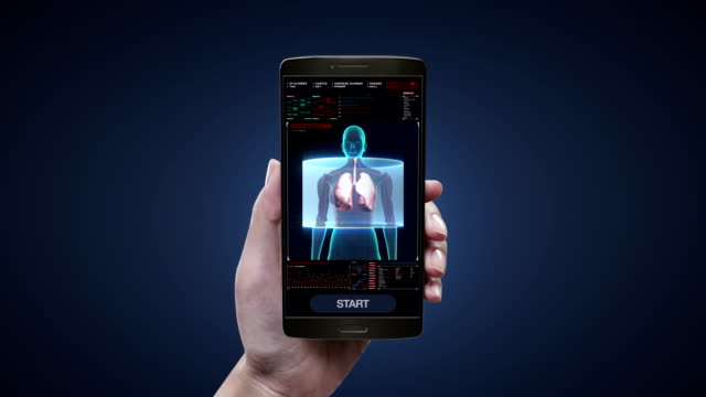 Touching health care diagnosis application on mobile, smart phone, Rotating Human Female lungs, Pulmonary Diagnostics in digital display dashboard. video