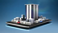 Touching real estate application, constructed building city on smart phone video