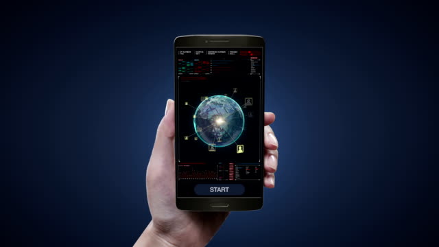 Touching social network service application on mobile, smart phone screen, Rotating earth, expanding social network service, media. video