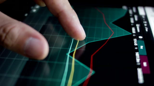 Touching stock market graph. video