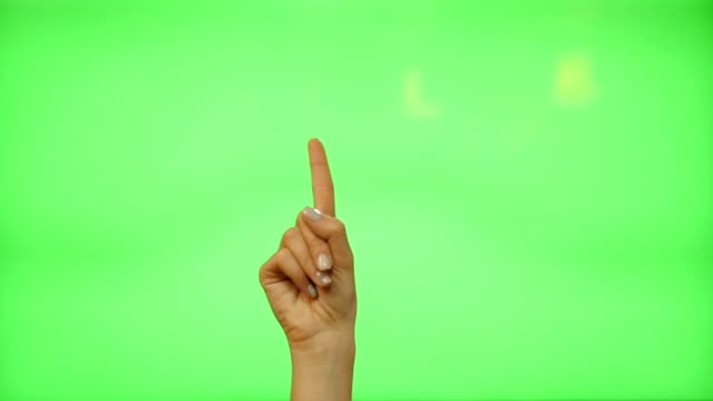 5 touchscreen gestures - female hand for transparent screen - green screen video