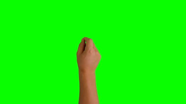 4K UHD 13 touchscreen gestures green screen, male hand. video