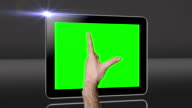 Touchscreen tablet gestures with green screen. HD video