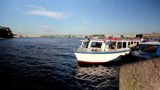 Tour ships at the pier on Neva, St. Petersburg, Russia video