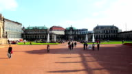 Tourist attraction place Royal Palace in Dresden Germany, people. Beautiful shot of Europe, culture and landscapes. Traveling sightseeing, tourist views landmarks of Germany. World travel, west European trip cityscape, outdoor shot video
