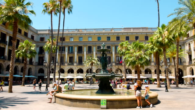 Tourist attraction Plaza Real, Barcelona in Catalonia, Spain video