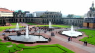 Tourist attraction site Royal Palace Zwinger Dresden, city tour. Beautiful shot of Europe, culture and landscapes. Traveling sightseeing, tourist views landmarks of Germany. World travel, west European trip cityscape, outdoor shot video