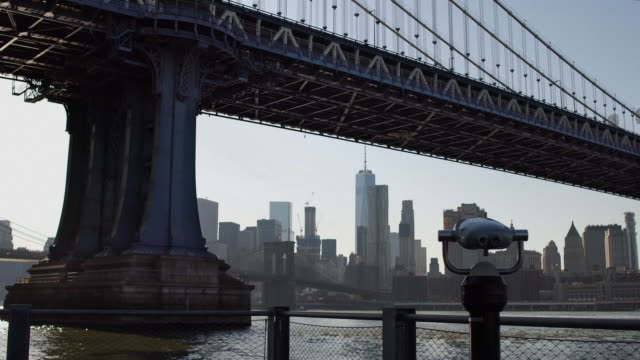 Tourist binoculars at Manhattan bridge. video