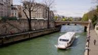 Tourist Boat on the River Seine, Paris, France video