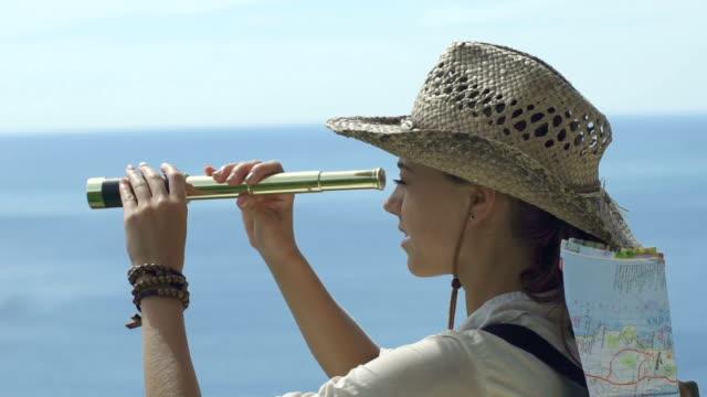 Tourist Girl Overlooking The Ocean Landscape video