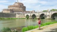 Tourist man traveling around Rome, Italy video