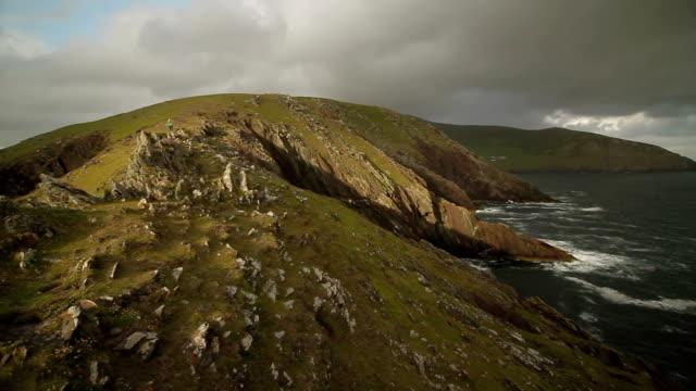 Tourist on Bluff - Ring of Kerry, Ireland - Pan video