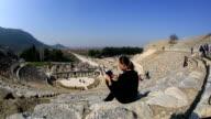 tourist use digital tablet video