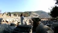 tourist video camera in ruins ancient Ephesus video