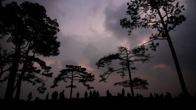 Tourist wait to see sunrise Phu Kradueng National Park of thailand video