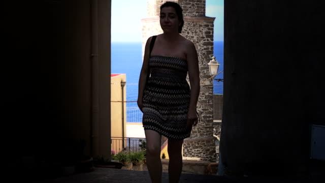 Tourist walking in narrow alley video
