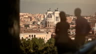 Tourist watching Rome from Gianicolo Hill video