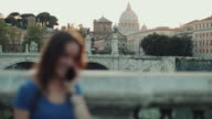 Tourist woman in Rome and Saint Peter's Dome video